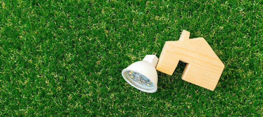 Wooden house model and lightbulb on green background