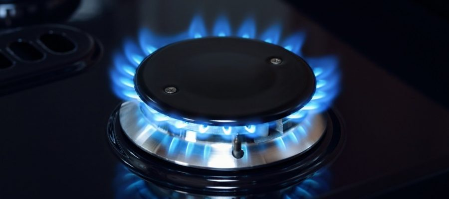 Natural gas burner flame on stove